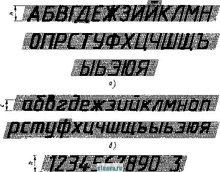 Рис 7 чертежный шрифт с наклоном тип