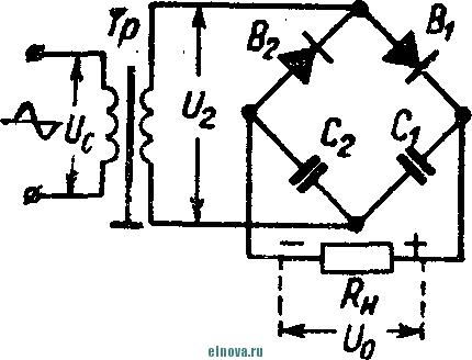 Мостовая схема удвоения напряжения и графики токов и напряжений.