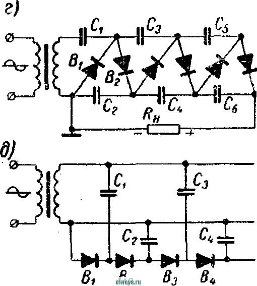 Однофазные схемы выпрямления с